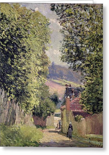 Road In Louveciennes Greeting Cards - A Road in Louveciennes Greeting Card by Alfred Sisley