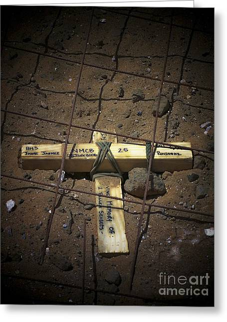 Graveyard Road Greeting Cards - A Road Repair Crew Places A Cross Greeting Card by Stocktrek Images