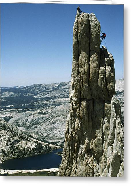 Cathedral Rock Greeting Cards - A Rock Climber Rappels Off Eichorns Greeting Card by Gordon Wiltsie