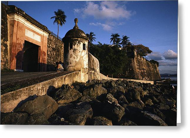 Old San Juan Greeting Cards - A Rocky Beach And Ancient Walls Line Greeting Card by Ira Block