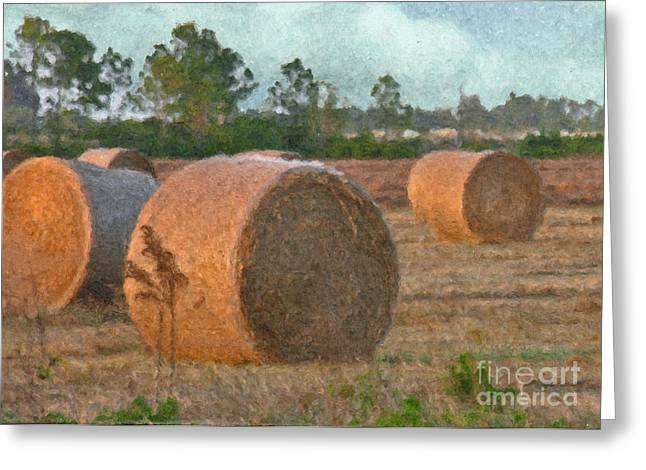 Haybale Digital Art Greeting Cards - A Roll in the Hay Greeting Card by Peggy Starks