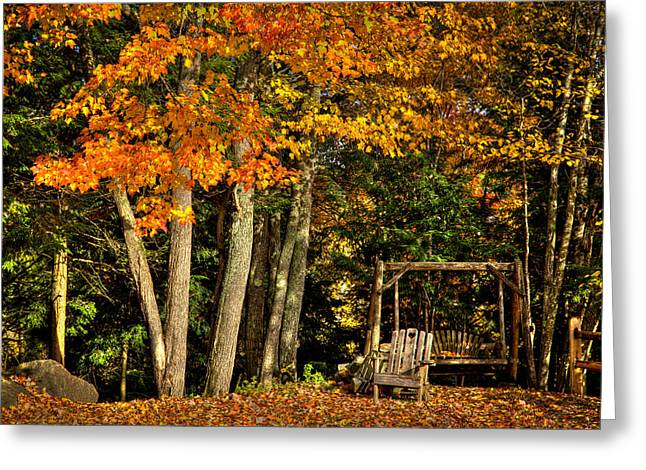 Fall Folage Greeting Cards - A Romantic Autumn Spot in Inlet Greeting Card by David Patterson