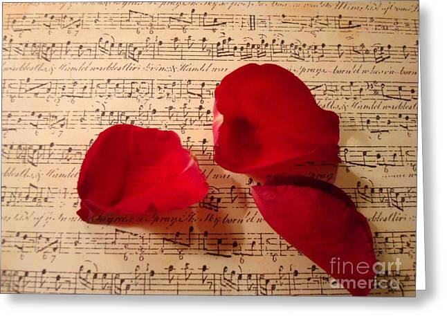 Petal Greeting Cards - A Romantic Note Greeting Card by Kathy Bucari