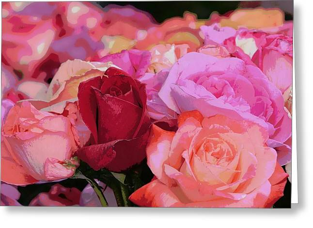 Bouquet Of Roses Greeting Cards - A Rose Like No Other Greeting Card by Fraida Gutovich