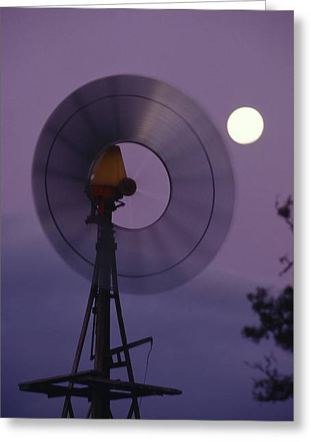 Rotate Greeting Cards - A Rotating Windmill And A Full Moon Greeting Card by Jason Edwards