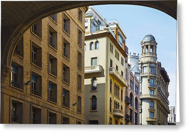 Residential Structure Greeting Cards - A Row Of Business And Apartment Greeting Card by Greg Stechishin