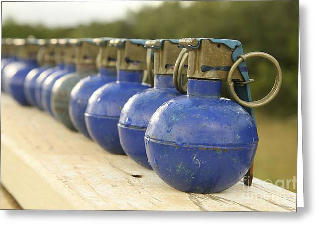 Fragmentation Greeting Cards - A Row Of M-67 Training Grenades Greeting Card by Stocktrek Images
