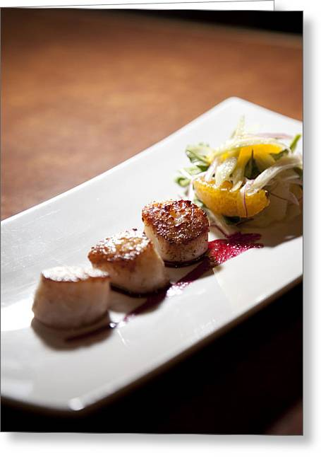 Ready-to-eat Greeting Cards - A Row Of Scallops On A Plate At A Bar Greeting Card by Taylor S. Kennedy
