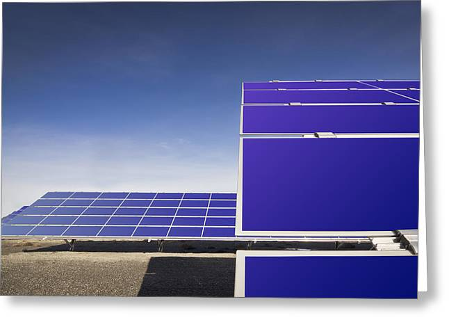 Good Energy Greeting Cards - A Row Of Solar Panels Tilted To Catch Greeting Card by Nicholi Wytovicz