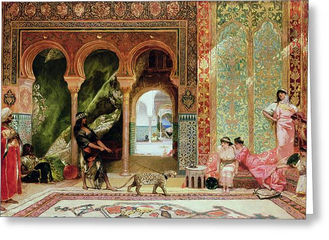 Interior Paintings Greeting Cards - A Royal Palace in Morocco Greeting Card by Benjamin Jean Joseph Constant