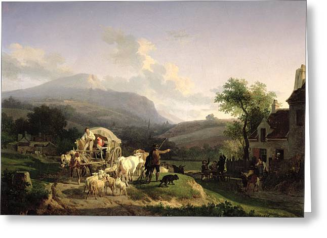 Wagon Greeting Cards - A Rural Landscape Greeting Card by Auguste-Xavier Leprince