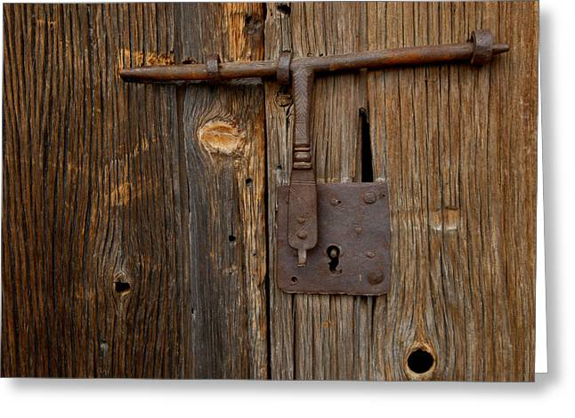 A Rusty Barn Door Lock On An Old Greeting Card by Medford Taylor
