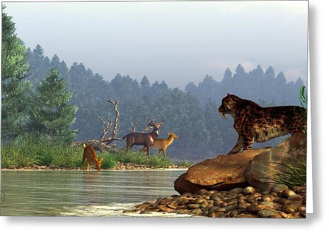 A Saber-tooth Hunting Deer Greeting Card by Daniel Eskridge