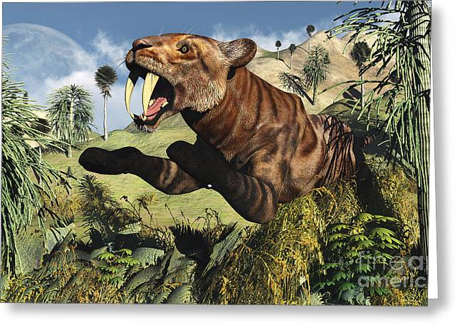 The Tiger Greeting Cards - A Sabre Tooth Tiger Springs Its Trap Greeting Card by Mark Stevenson