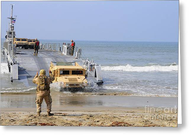 A Sailor Directs A Humvee Greeting Card by Stocktrek Images