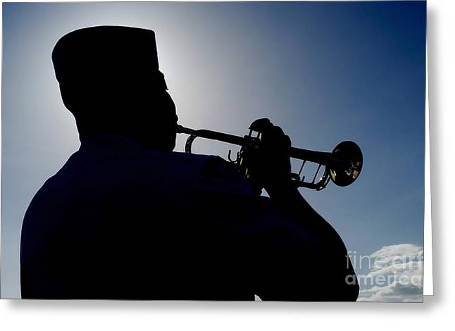 Playing Musical Instruments Greeting Cards - A Sailor Playing Taps Greeting Card by Stocktrek Images