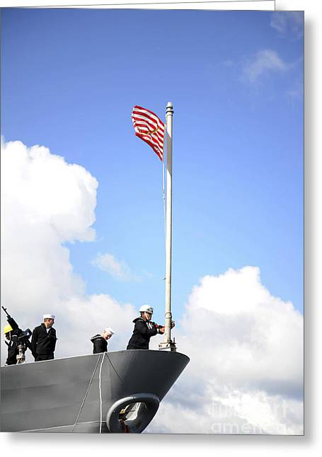 A Sailor Raises The First Navy Jack Greeting Card by Stocktrek Images
