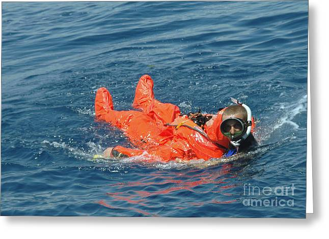 Sorbet Photographs Greeting Cards - A Sailor Rescued By A Diver Greeting Card by Stocktrek Images