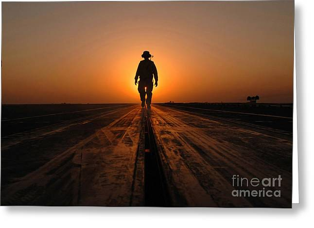 Enterprise Greeting Cards - A Sailor Walks The Catapults Greeting Card by Stocktrek Images