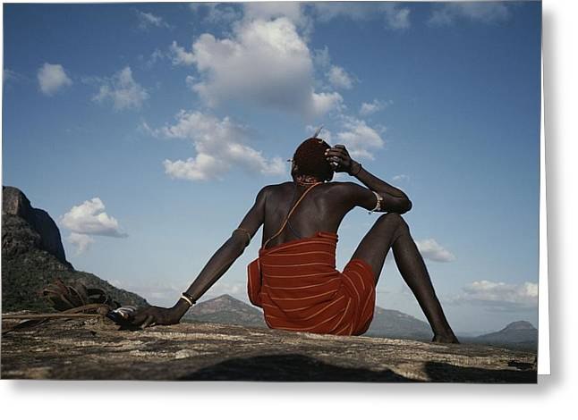 Ethnic And Tribal Peoples Greeting Cards - A Samburu Goatherd Takes A Break Greeting Card by Bobby Model