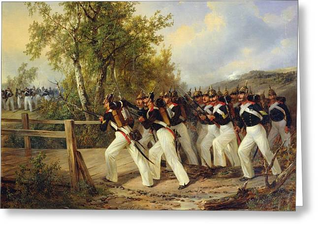 Bayonet Paintings Greeting Cards - A Scene from the soldiers life Greeting Card by Carl Schulz
