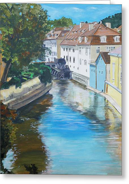 Prague Paintings Greeting Cards - A Scene in Prague 2 Greeting Card by Bryan Bustard