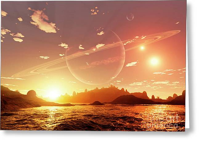 Ring Systems Greeting Cards - A Scene On A Distant Moon Orbiting Greeting Card by Brian Christensen