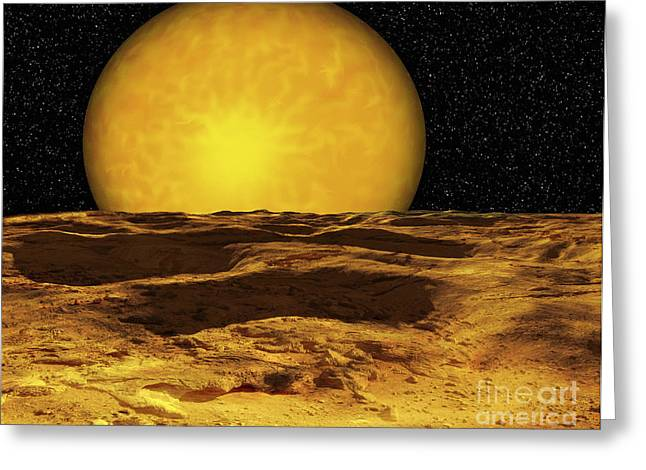 Astrogeology Greeting Cards - A Scene On A Moon Of Upsilon Andromeda Greeting Card by Ron Miller