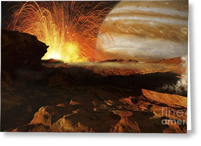 A Scene On Jupiters Moon, Io, The Most Greeting Card by Ron Miller