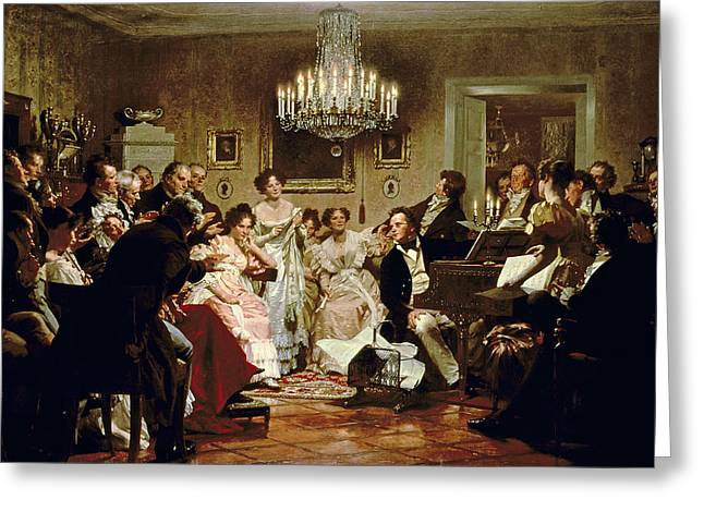 Austria Paintings Greeting Cards - A Schubert Evening in a Vienna Salon Greeting Card by Julius Schmid