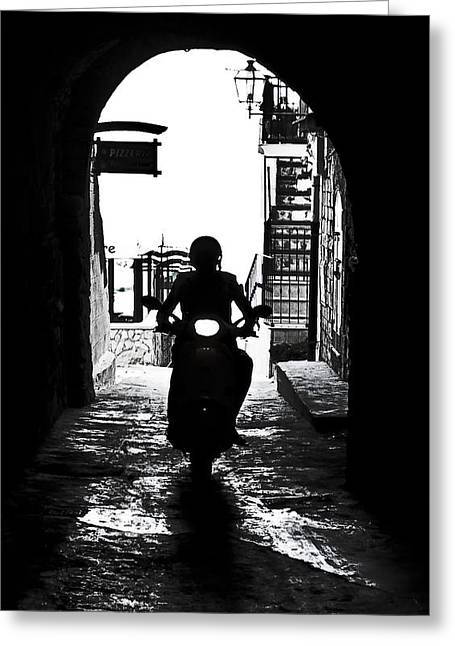 Lane Greeting Cards - a scooter rider in the back light in a narrow street in Italy Greeting Card by Joana Kruse