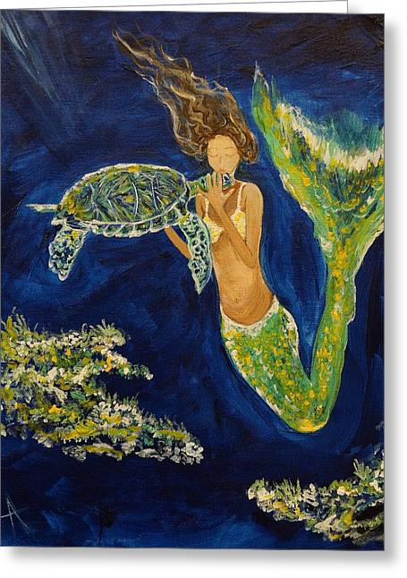Picture Of Mermaids Greeting Cards - A Sea Turtles Kiss Greeting Card by Leslie Allen