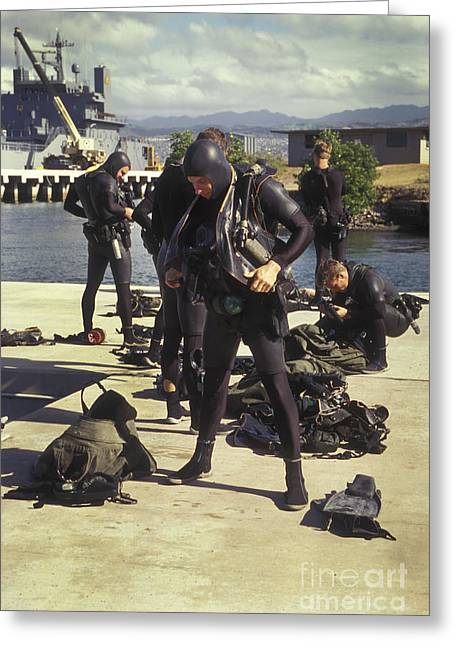 Scuba Divers Greeting Cards - A Seal Team Combat Swimmer Squad Put Greeting Card by Michael Wood