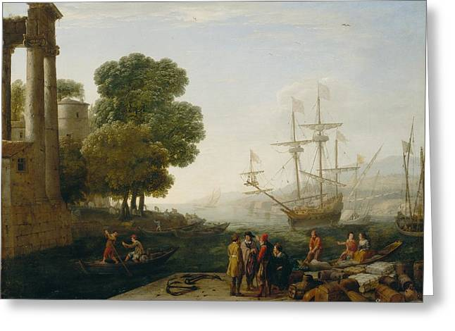 Docked Sailboats Greeting Cards - A Seaport at Sunset Greeting Card by Claude Lorrain