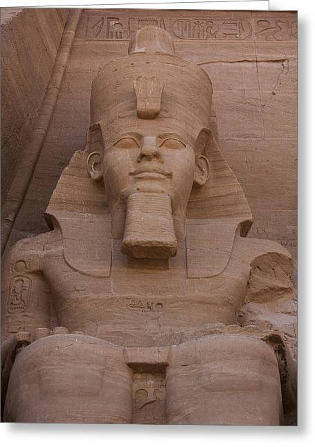 Statue Portrait Greeting Cards - A Seated Ramses Ii At Abu Simbel Temple Greeting Card by Taylor S. Kennedy