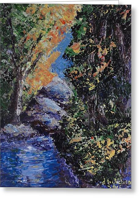 Pallet Knife Greeting Cards - A Secret Place Greeting Card by Don Hutchison