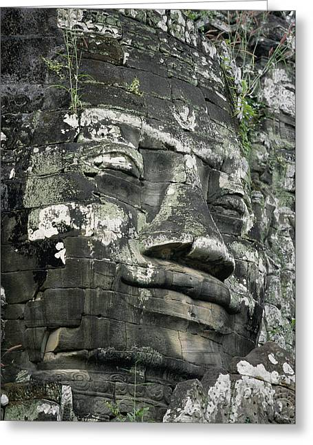 Indochinese Architecture And Art Greeting Cards - A Serene Faced Likeness Of Buddha Greeting Card by Paul Chesley