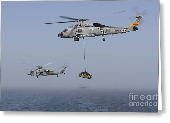 Arabian Sea Greeting Cards - A Sh-60j Seahawk And A Mh-60s Greeting Card by Gert Kromhout