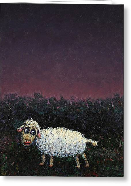 Dark Paintings Greeting Cards - A sheep in the dark Greeting Card by James W Johnson