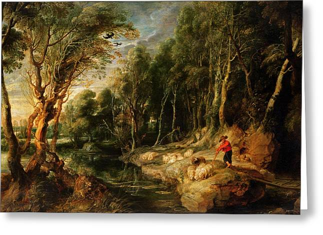 Tree Roots Greeting Cards - A Shepherd with his Flock in a Woody landscape Greeting Card by Rubens