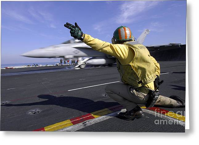 Operation Enduring Freedom Greeting Cards - A Shooter Signals The Launch Of An Greeting Card by Stocktrek Images