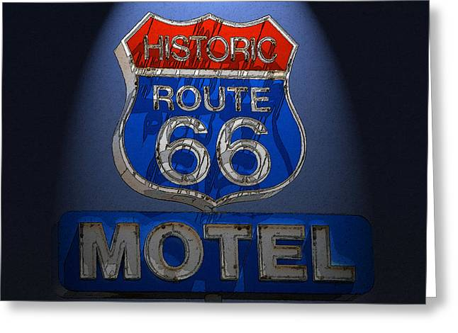 Route 66 Motel Sign Greeting Cards - A sign in the night Greeting Card by David Lee Thompson