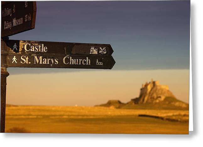 Directional Signage. Greeting Cards - A Sign Post Pointing To A Castle And Greeting Card by John Short