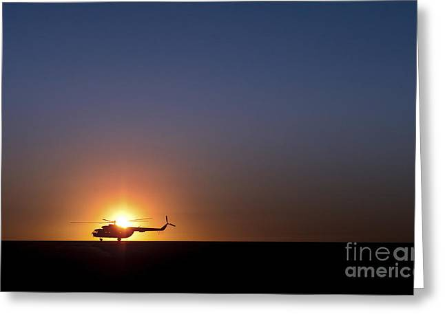 Helmand Province Greeting Cards - A Sikorsky S-61l Mk Ii Helicopter Taxis Greeting Card by Stocktrek Images