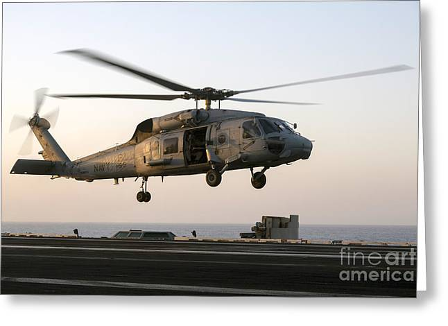 At Arrivals Greeting Cards - A Sikorsky Sh-60f Seahawk Lands Greeting Card by Gert Kromhout