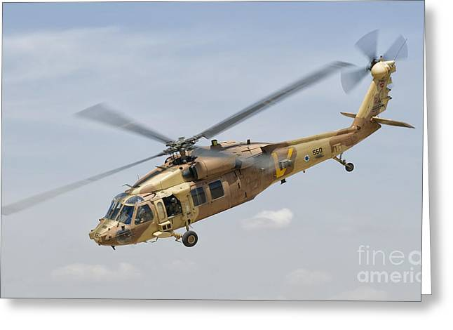 Uh-60 Greeting Cards - A Sikorsky Uh-60 Black Hawk Yanshuf Greeting Card by Giovanni Colla