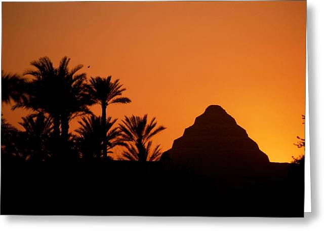 Sunset Scenes. Greeting Cards - A Silhouette Of The Step Pyramid Greeting Card by Kenneth Garrett