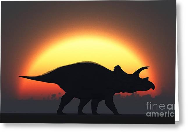 Primeval Greeting Cards - A Silhouetted Triceratops Strolling Greeting Card by Mark Stevenson