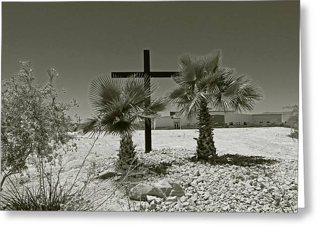 Artandstuffbycarl.com Greeting Cards - A Simple Wooden Cross Without Color Greeting Card by Carl Deaville