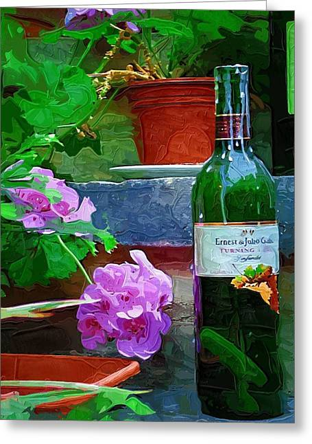 Al Fresco Greeting Cards - A Sip of Wine Greeting Card by Amanda Moore